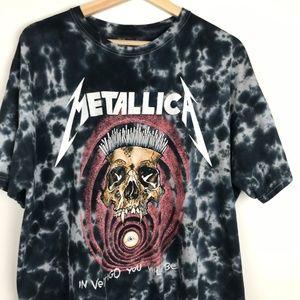 Metallica Short Sleeve Black Tie Dye Band Tee  L